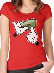 Make It Rain Cartoon Hands (Ghetto Fat Stack) Women's Fitted Scoop T-Shirt