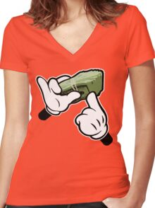 Make It Rain Cartoon Hands (Ghetto Fat Stack) Women's Fitted V-Neck T-Shirt
