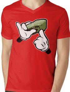 Make It Rain Cartoon Hands (Ghetto Fat Stack) Mens V-Neck T-Shirt