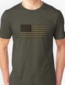 Subdued Olive Drab Military US Flag T-Shirt