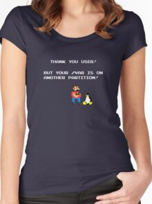 linux tux mario like troll Women's Fitted Scoop T-Shirt