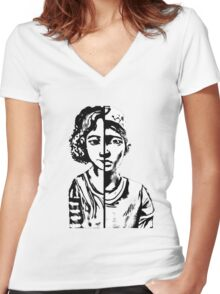 walking dead Clementine Women's Fitted V-Neck T-Shirt