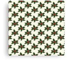 Holly Leaves Pattern Print Canvas Print