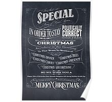 Politically Correct or Incorrect Black Chalkboard Christmas Card - We Poster