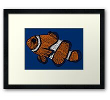 Coloured Clownfish Line Drawing Framed Print