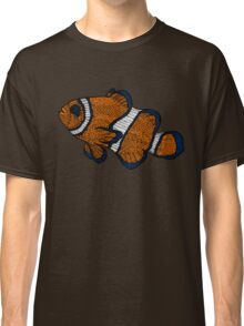 Coloured Clownfish Line Drawing Classic T-Shirt