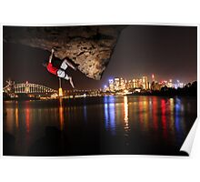 Night climbing in Sydney Harbour Poster