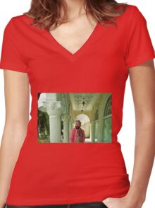 Troy - Versace Pillars Women's Fitted V-Neck T-Shirt