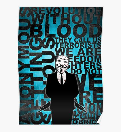 Anonymous revolution without blood ? Cyan Poster