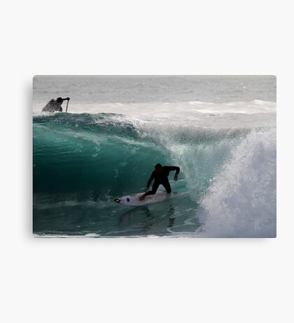 Surfer getting Barrelled at Dee Why Point Canvas Print