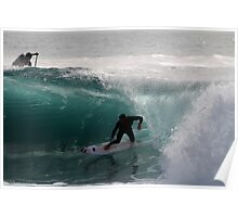 Surfer getting Barrelled at Dee Why Point Poster