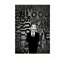 Anonymous revolution without blood ? W&B Art Print