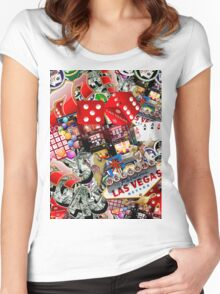 Gamblers Delight - Las Vegas Icons Background Women's Fitted Scoop T-Shirt