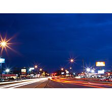 Light Trails and Cloudy Blue Hour Skies Photographic Print