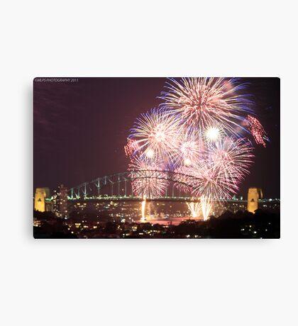 Sydney Harbour Bridge Fireworks, 2011/12 NYE Canvas Print