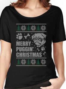 Merry Puggin' Christmas Ugly Sweater Pug Shirt Women's Relaxed Fit T-Shirt