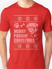 Merry Puggin' Christmas Ugly Sweater Pug Shirt T-Shirt