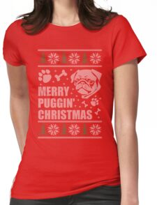 Merry Puggin' Christmas Ugly Sweater Pug Shirt Womens Fitted T-Shirt