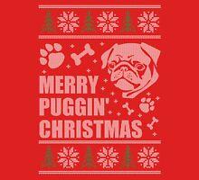 Merry Puggin' Christmas Ugly Sweater Pug Shirt Unisex T-Shirt