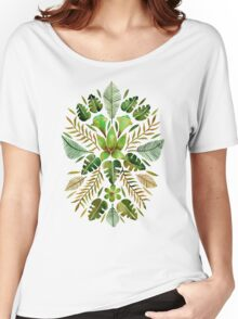 Tropical Symmetry – Olive Green Women's Relaxed Fit T-Shirt