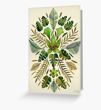 Tropical Symmetry – Olive Green Greeting Card