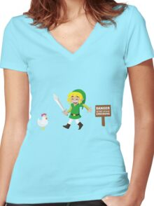Link and the chickens... Women's Fitted V-Neck T-Shirt
