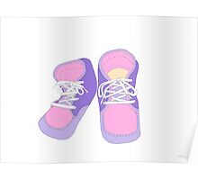 Pink and Blue Baby Shoes Poster