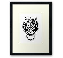 Cloud Strife's Wolf Emblem (Black) Framed Print