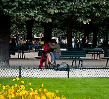 Paris lovers near Notre dame by Michael Brewer