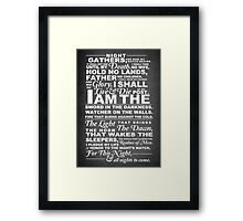 The Night's Watch Poster Framed Print