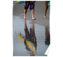 Reflections of surfers in the sand at Seminyak Beach, Bali, Indonesia Poster