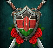Kenyan Flag on a Worn Shield and Crossed Swords by Jeff Bartels