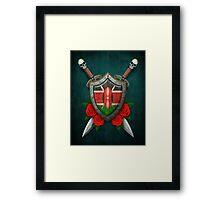 Kenyan Flag on a Worn Shield and Crossed Swords Framed Print