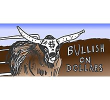 binary options cartoon - USD running with the Bulls Photographic Print
