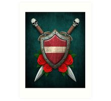 Latvian Flag on a Worn Shield and Crossed Swords Art Print