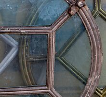 Collage of old metal window frames in France by Michael Brewer