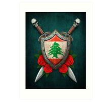 Lebanese Flag on a Worn Shield and Crossed Swords Art Print