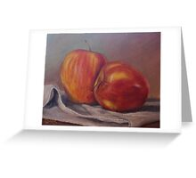Apples on a Towel Greeting Card