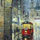 Praha Red Tram Mostecka str  by Yuriy Shevchuk