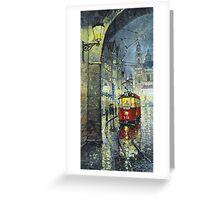Praha Red Tram Mostecka str  Greeting Card