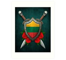 Lithuanian Flag on a Worn Shield and Crossed Swords Art Print