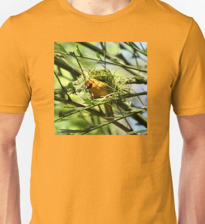 Golden Weaver Bird Sitting In Nest Being Built Unisex T-Shirt
