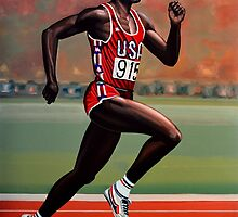 Carl Lewis painting by PaulMeijering