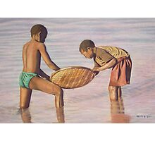 Boys Fishing Photographic Print