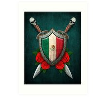 Mexican Flag on a Worn Shield and Crossed Swords Art Print