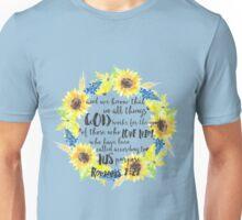 Romans 8:28 Sunflower Wreath Unisex T-Shirt