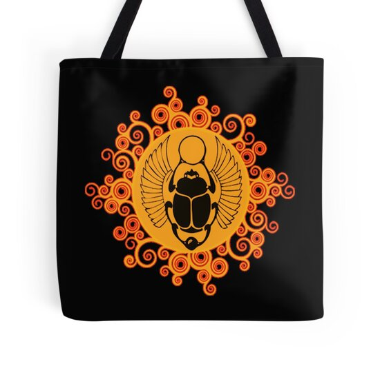 Quot Egyptian Sun Beetle Quot Tote Bags By Dave Delben Redbubble