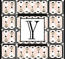 1920s Pink Champagne Gatsby Monogram letter Y by CecelyBloom