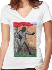 War & Peace & The Narcissist(Surrealist Collage) Women's Fitted V-Neck T-Shirt