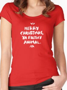 Merry Christmas, Ya Filthy Animal – Red Women's Fitted Scoop T-Shirt